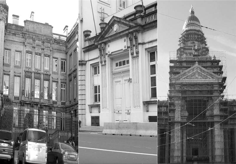 La Commission, le Parlement et le Palais de Justice, Les trois bâtiments représentatifs des trois institutions de la Belgique.