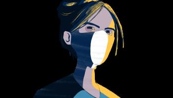 images dessinée d'une infirmière avec masque